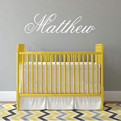 "Boys Nursery Personalized Custom Name Vinyl Wall Art Decal Sticker 36"" W, Boy Name Decal, Boys Name, Nursery Name, Boys Name Decor Wall Decals, Boy's Bedroom Decor, Plus Free 12"" Hello Door Decal: Baby"