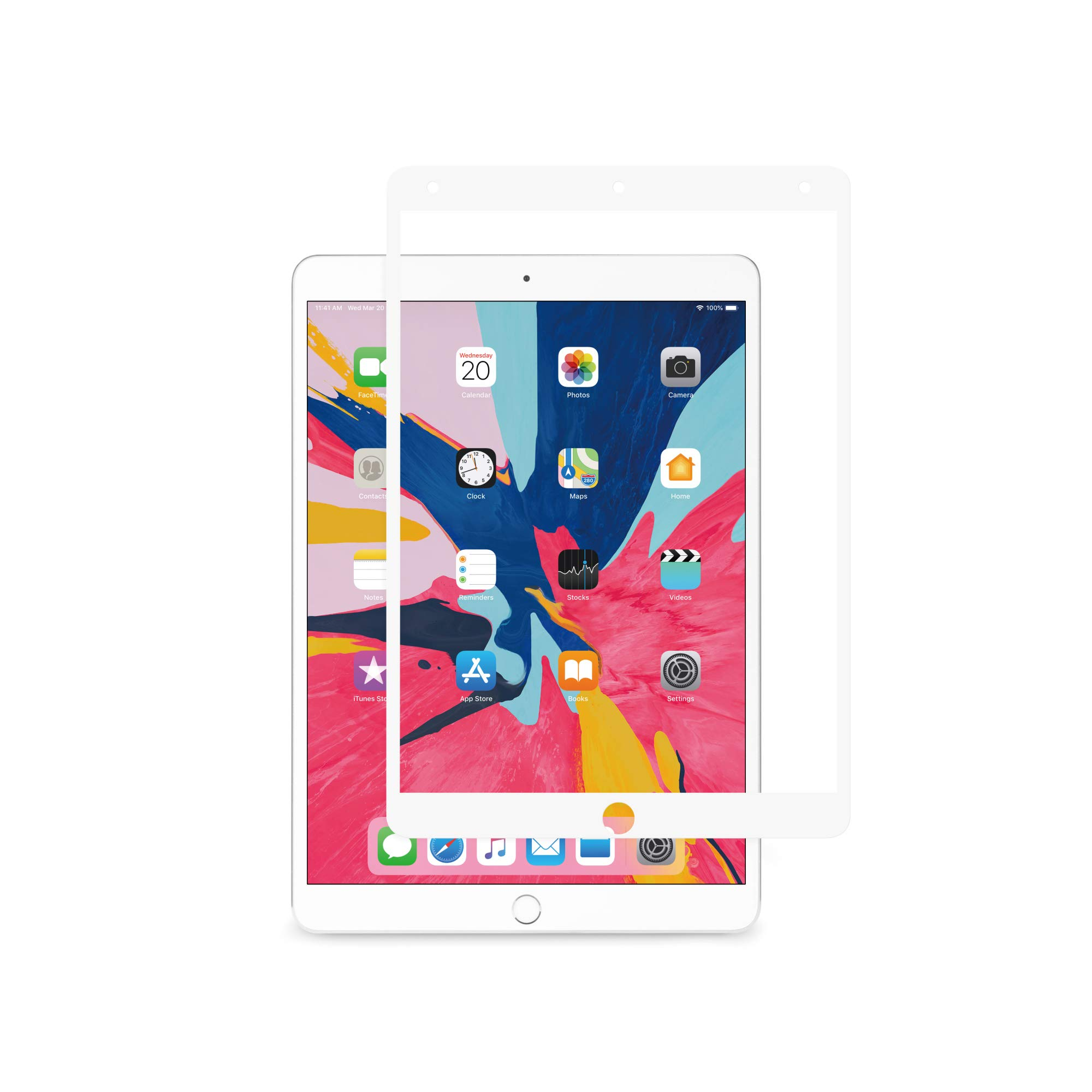 Moshi iVisor AG (Anti-Glare/Matte) Screen Protector for New iPad Air 10.5-inch / iPad Pro 10.5 inch, 100% Bubble-Free and Washable, Compatible with Apple Pencil, Washable, White