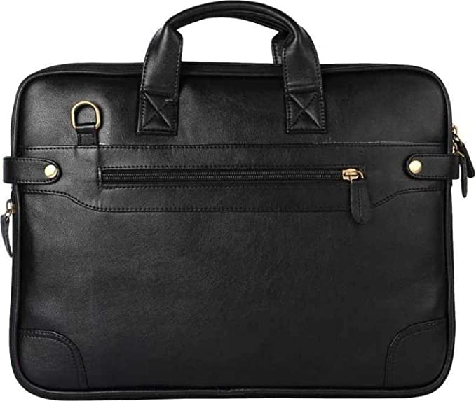 Faux Leather Expandable Laptop Messenger/Office Bags for Men  amp; Women  Black,16 inch