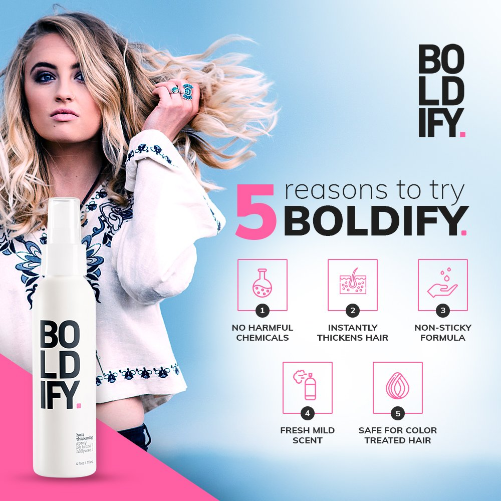 BOLDIFY Hair Thickening Spray - Get Thicker Hair in 60 Seconds - Stylist Recommended Hair Thickening Products for Volume, Texture and Lift - The Ultimate Hair Thickener for Women and Men - 8 Ounce by Boldify (Image #6)