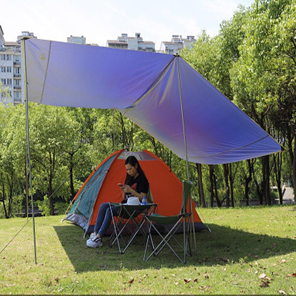 bleu-4 irons  WUPO Tente De Mouche De Pluie De Hamac, BÂche Portative 3  3M, Pare-Soleil, Imperméable à l'eau Et à La Neige, Camping Extérieur Maison Plage Champ Parc Parking, Bleu