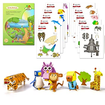 Hifot Animals 3D Paper Model Kir, Handmade DIY 3D Paper Puzzle,  Paper-folding Projects, Creative Origami Education Toy Craft Kits for kids