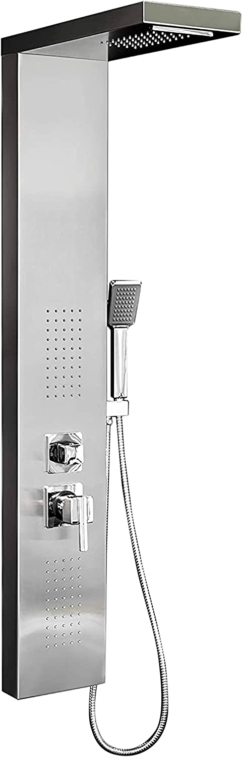 Elbe Shower Panel Column Tower Stainless Steel 304, Shower System with 4 Functions, Unique hydromassage and Waterfall Shower, 125 x 20 x 6.5 cm Modern-Design