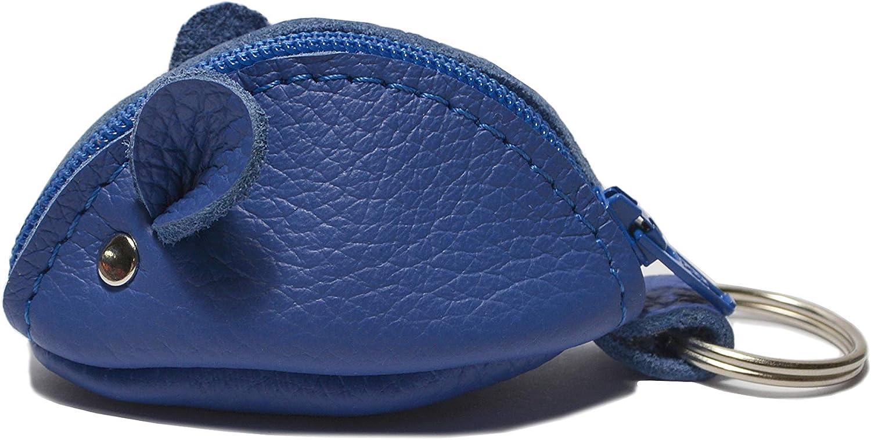 WANDERMAUS JOHN Llavero ratón de cuero – Monedero portamonedas pequeño – Regalo ideal - 100% hecho a mano en Berlin Alemania – Color azul
