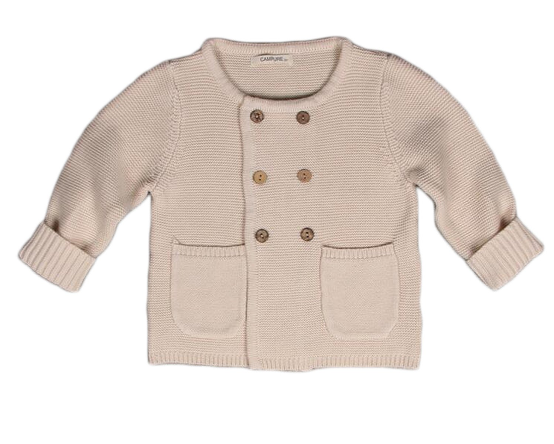 OUCHI Unisex Kids Autumn Winter Double Breasted Cotton Knit Cardigan Sweater Khaki