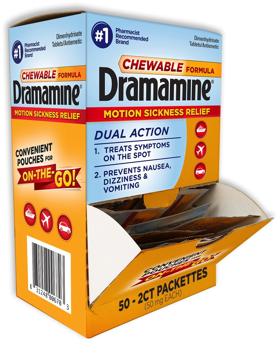 Dramamine Counter Top Display with 50 Convenient Pouches for Motion Sickness Relief, 2 Tablets per Pouch