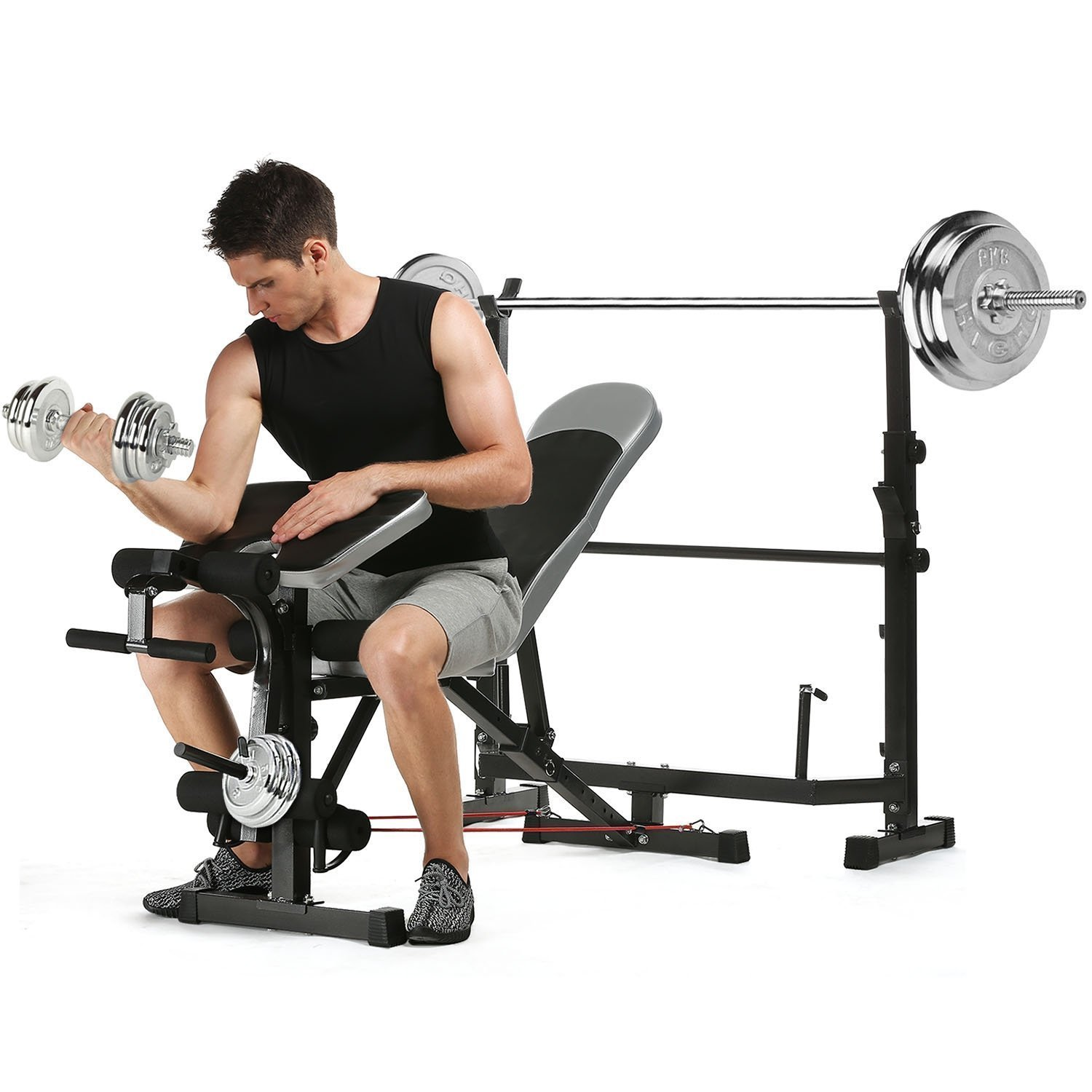 Multi-Functional Olympic Weight Bench Height Adjustable Squat Rack for Indoor Exercise(US STOCK)