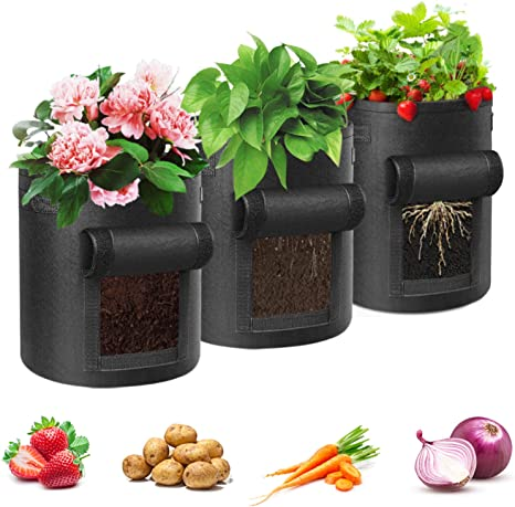 10 20 Pack Fabric Planting Pots Planter Bags Garden Root Non-woven With Handles
