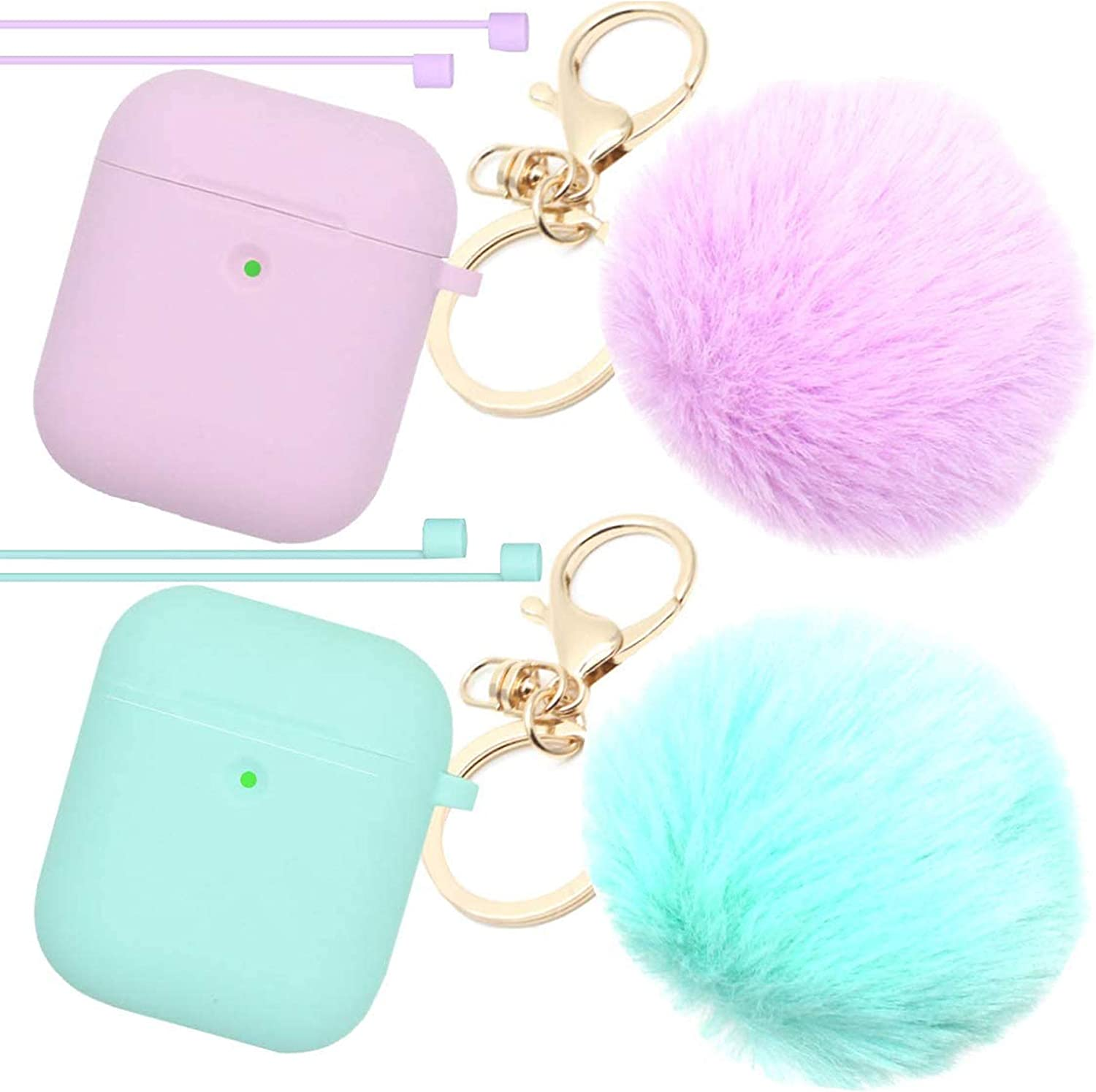 Airpods Case Newest Upgrade (Front LED Visible) ANTARCTICASE Skin Drop Proof Protective Pompom Keychain Case Cover Silicone for Apple Airpods 2&1 Charging Cute Fur Ball Keychain (Purple + Mint Green)