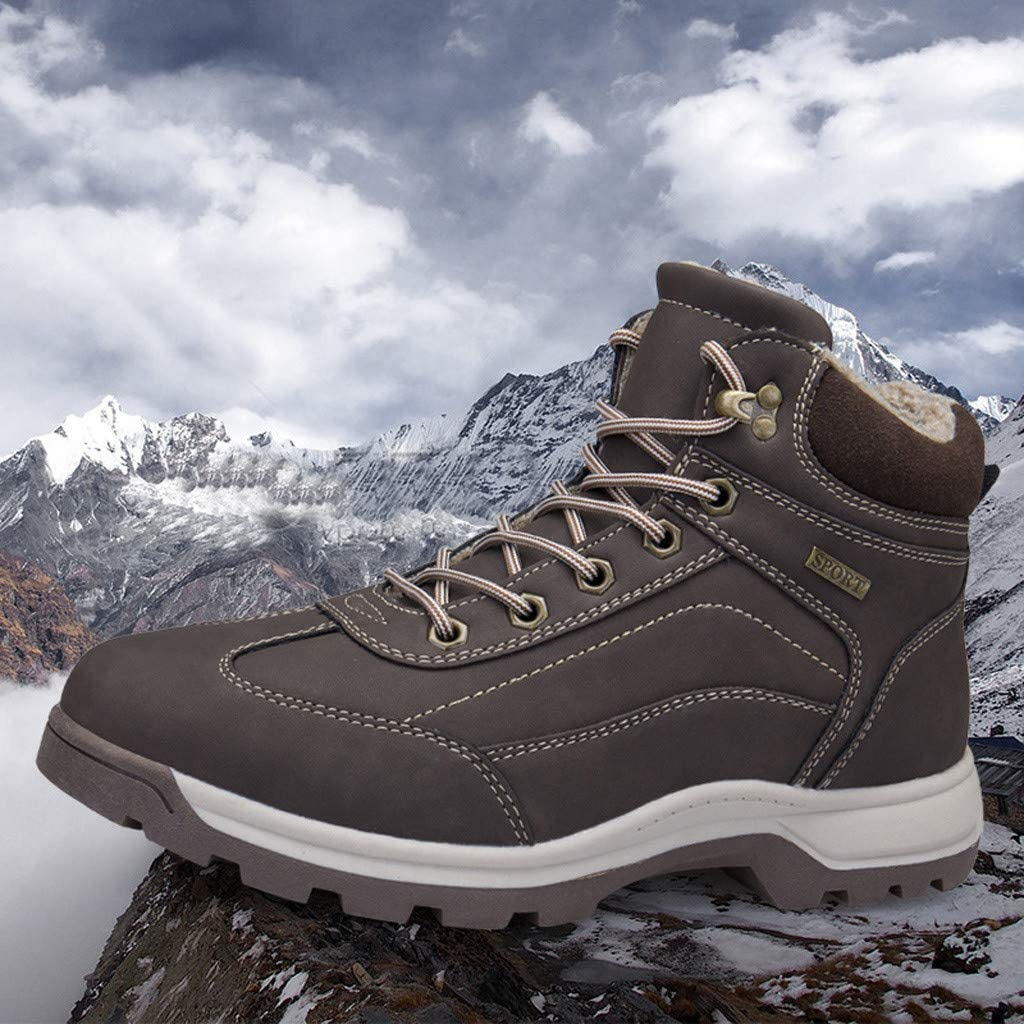 Jentouzz Mens Winter Snow Shoes Hiking Boot Non-Slip Outdoor Warm Shoes High Top Sneakers