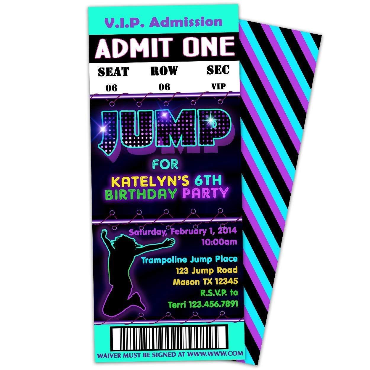 Amazon Com Purple Jump Trampoline Birthday Invitations Girl Bounce
