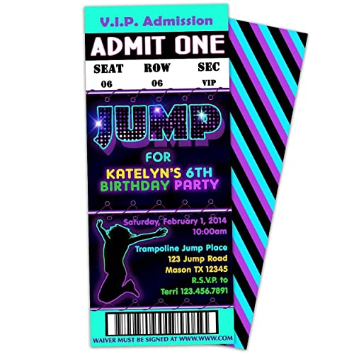 Image Unavailable Not Available For Color Purple JUMP Trampoline Birthday Invitations Girl Bounce Park Sky