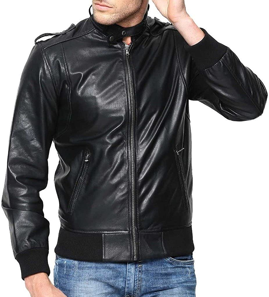 Stylish Men Biker Motorcycle Zipper Slim Fit Cow Leather Casual Jacket KC555