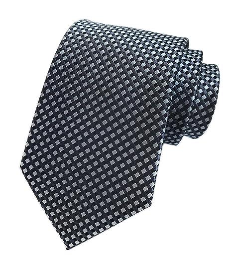 fcc41af6f7d9 Men Black Silk Tie Grey Gingham Diamond Fashion Necktie Business Meetings  Events