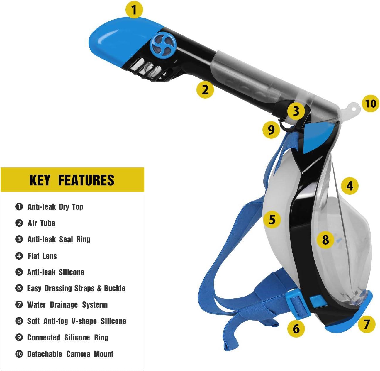 Unigear M/áscara De Buceo Gafas Snorkel Facial Completa Adulto 180/° Vista Panor/ámica con Camara Deportiva para Bucear Nataci/ón Anti-Vaho Anti-Fugas Modelo /Último