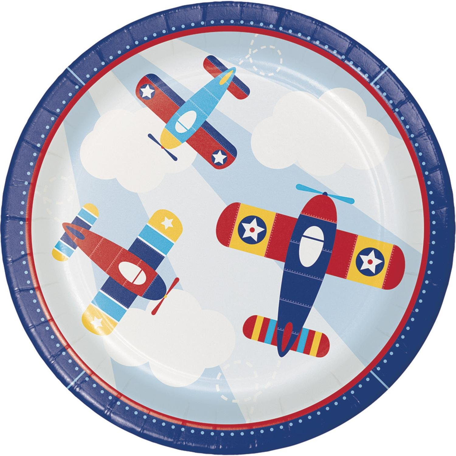 Club Pack of 96 Blue and Red Little Flyer Airplane - Dinner Plate 8.8''