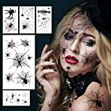 Halloween Spider Face Tattoos for Women, Halloween Spiders Makeup Stickers for Kids/Adults, Spider Makeup Face Tattoo for Wit
