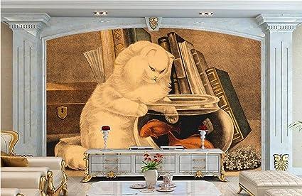 Papel Pintado Pintado A Mano De Gato A La Antigua Pecera Pez Dorado Fotomural 3D Mural
