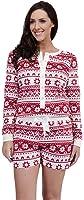 Ladies Fleece PlaySuit Onesie Aztec Fair Isle Navy Blue Red Size 8 10 12 14 16 18
