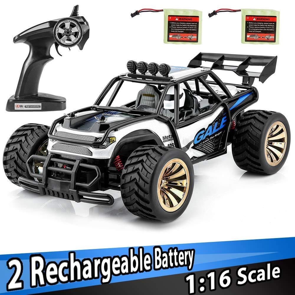 Distianert TMUSWJL00010   2.4Ghz Radio Remote Control Car 2W 20Mph High Speed Racing Monster Truck with 2 Recharger Battery-Best Gift for Kids, Blue