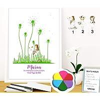 Didart Handmade Cuadro de flor de huellas personalizado para Comunión. 3 modelos de niña a elegir. Tintas e…