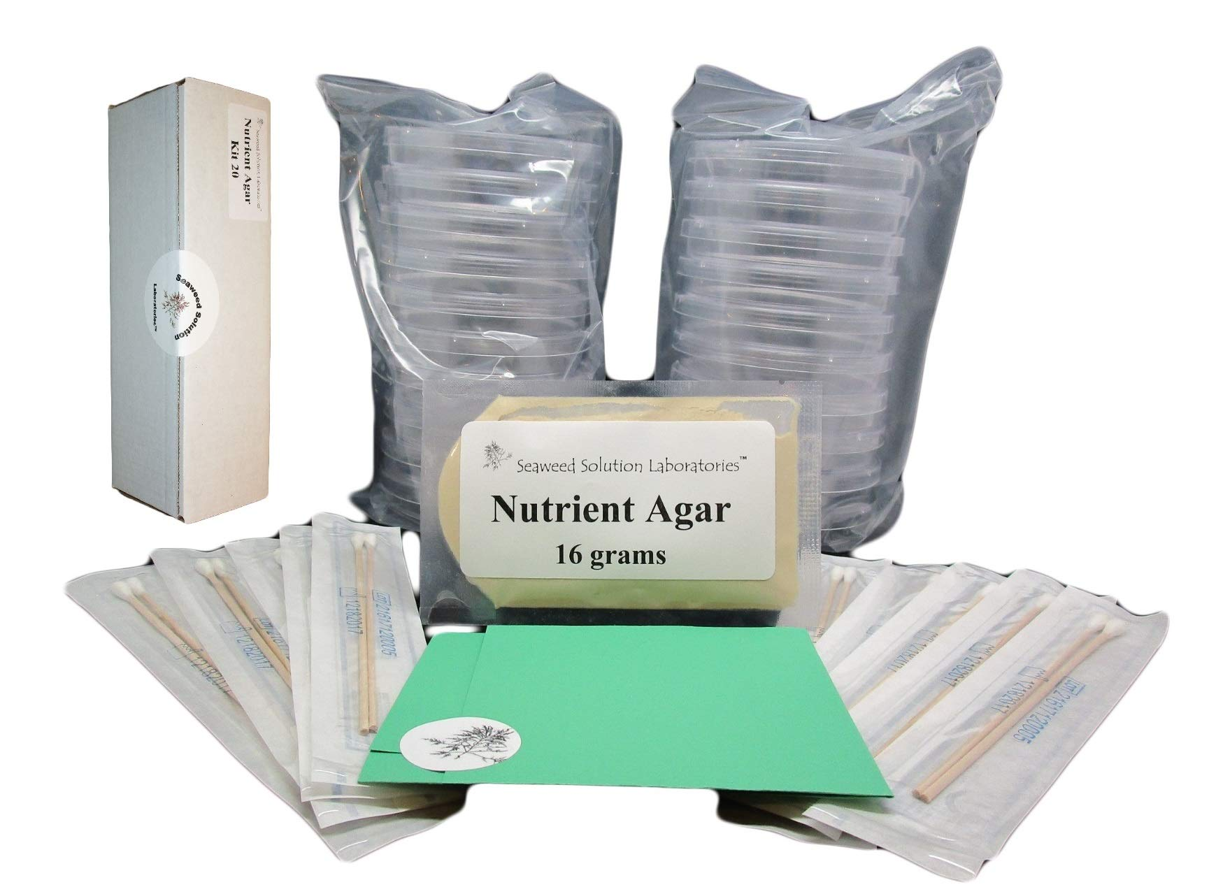 Nutrient Agar Kit, Includes 20 Sterile Petri Dishes with Lids & 20 Sterile Cotton Swabs