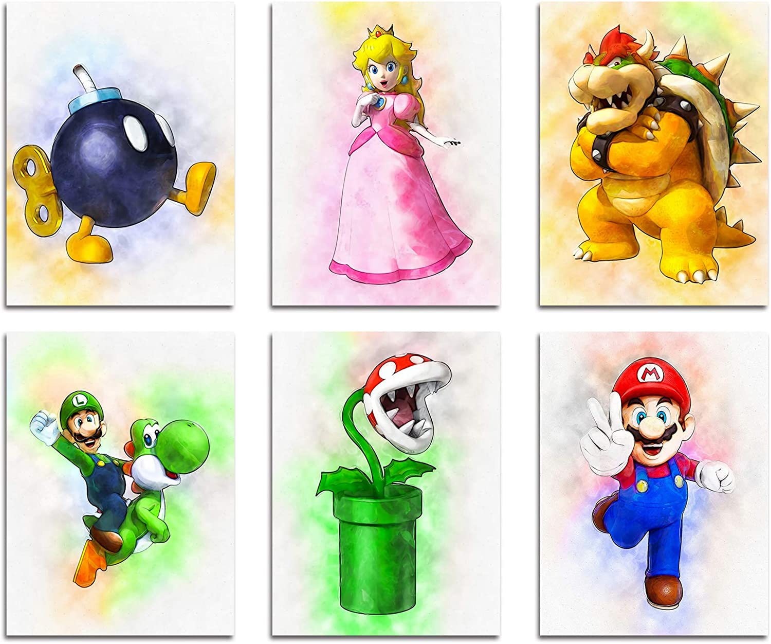 DAJIDALI Wall Art Prints, Super Mario Bros. Poster Watercolor Pictures Set of 6, Gift for Game Fans, Modern Home Decor for Living Room, Bedroom, Dorms, Game Room - 8x10 in, No Frame
