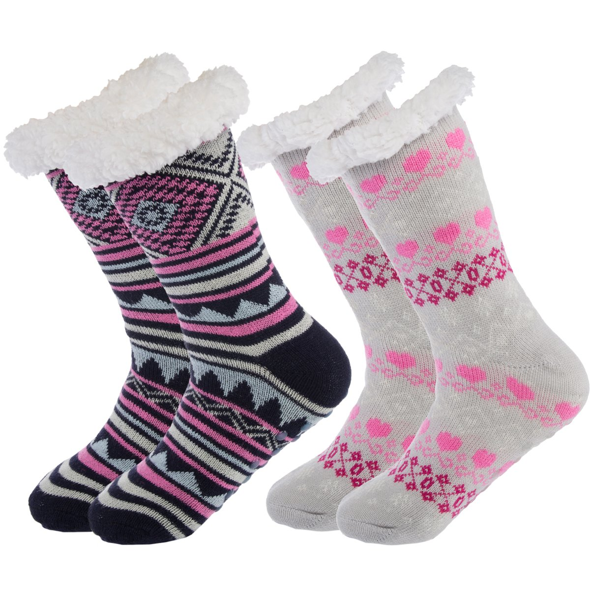 Treehouse Knit (2 Pack) Womens Thick Knit Sherpa Lined Cozy Thermal Fuzzy Slipper Socks With Grippers Navy/Gery