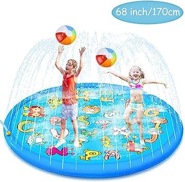 aovowog Splash Pad para niños,170cm/68de Juego de Agua al Aire Libre, Tapete de Juegos de Agua para Niñas y Niños,Juguetes de Jardín para Niños pequeños: Amazon.es: Juguetes y juegos