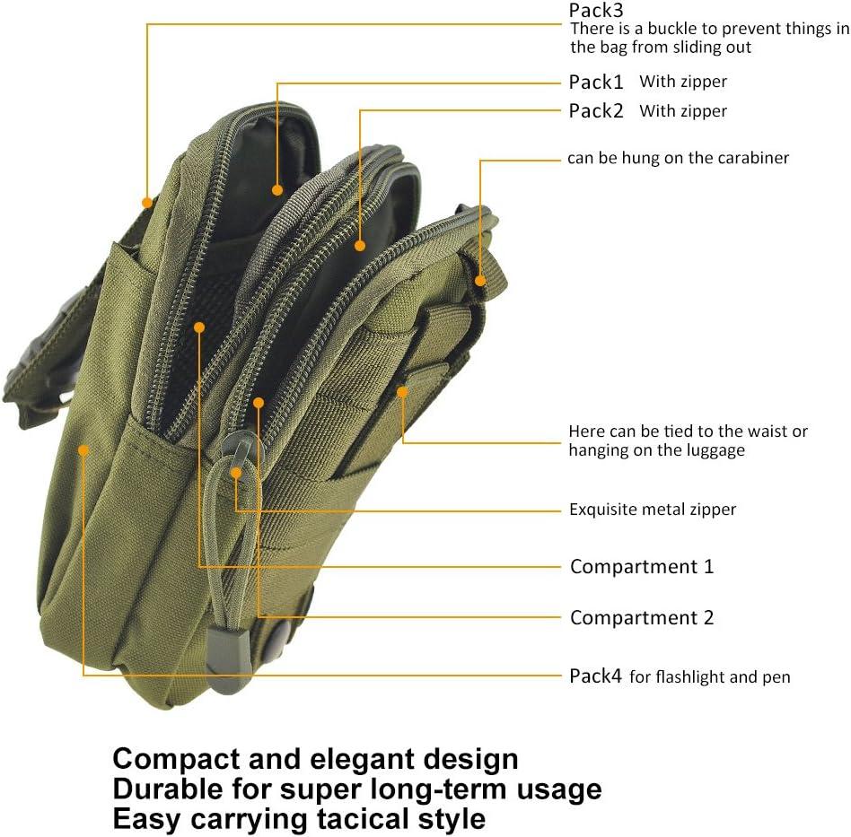 Asiv Bolsa de Cintura de tactica de Molle de Deporte al Aire Libre de Hombre Caja del telefono movil de Monedero y de Paquete para telefono