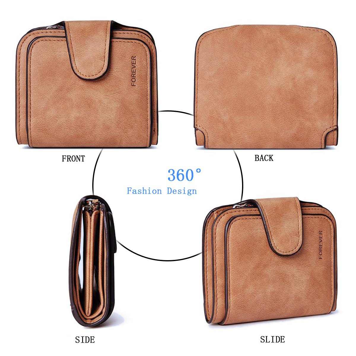 Wallet for Women Leather Clutch Short Purse Ladies Credit Card Holder Organizer with Zip Pocket - Brown by EUGO (Image #5)