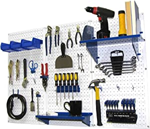 Pegboard Organizer Wall Control 4 ft. Metal Pegboard Standard Tool Storage Kit with White Toolboard and Blue Accessories
