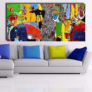 Arte Abstracto Moderno Vida en el Bosque Imagen de la Pared decoración del hogar Pintura sin Marco 75x150cm