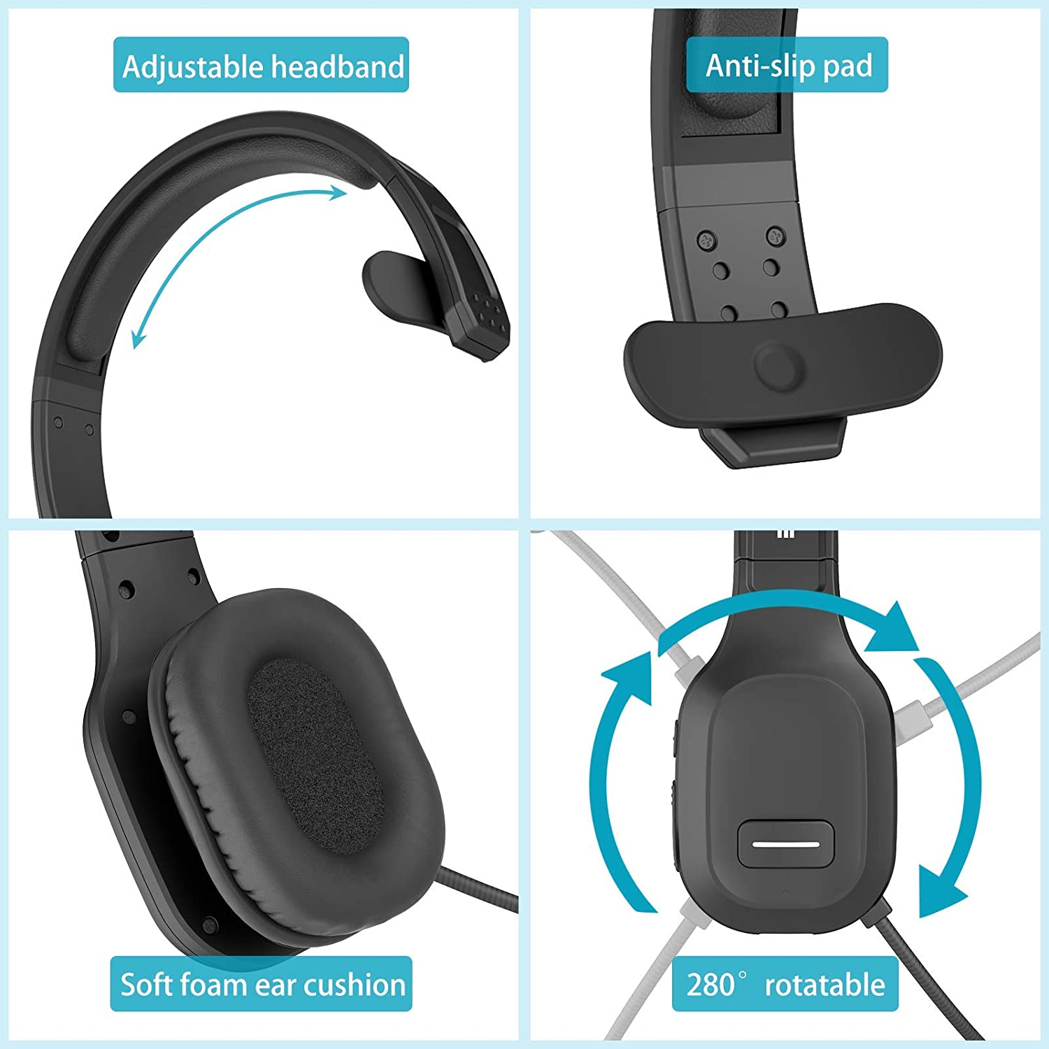 Comfort-fit for Long Haul On-The-Ear Skype Office Headsets for Clear Calls PUTARE Bluetooth Headset Hands Free Phone Headset with Noise Cancelling Microphone