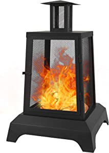 charaHOME Large Fire Pits Wood Burning 44'' High Chimineas Fire Pit Steel Big Outdoor Pagoda Style Firepits Bowl with Mesh Spark Screen Modern Firepits for Camping ,Backyard,Party