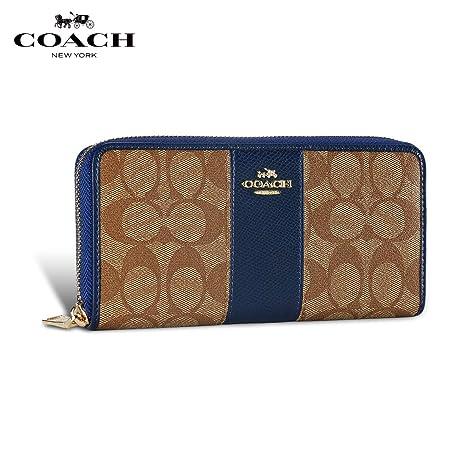 Coach Mujer Carteras Cuero Accordion Zip Billetera Bolsa de Monedas Gran Capacidad Titular de Tarjetas de