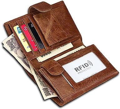 Vintage Men Genuine Leather Trifold RFID Blocking Wallet Credit Card Coin Purse