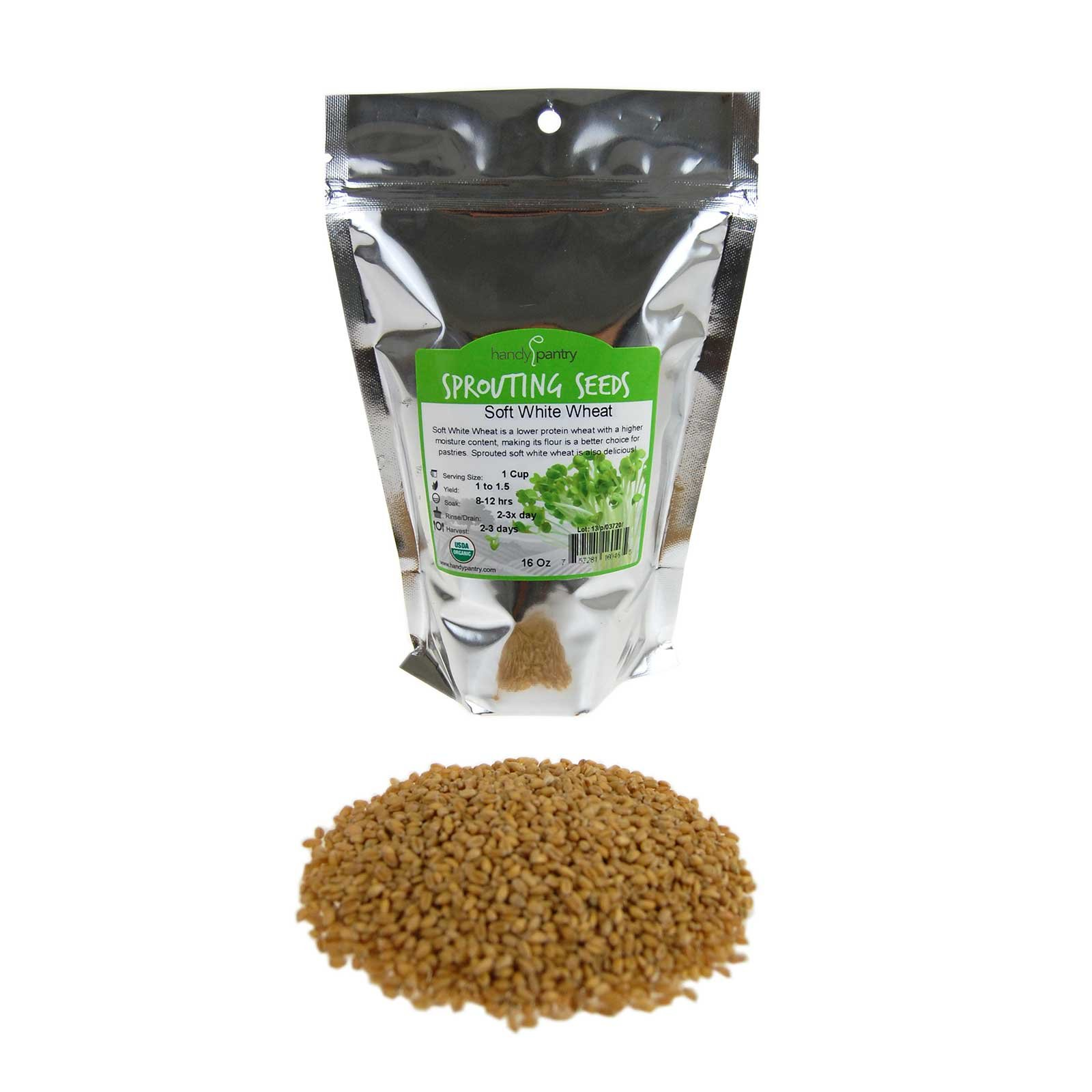 Soft White Wheat - Organic - 1 Lbs. Resealable Pouch - Handy Pantry Brand - Perfect for Food Storage, Flour, Baking, Sprouting & More
