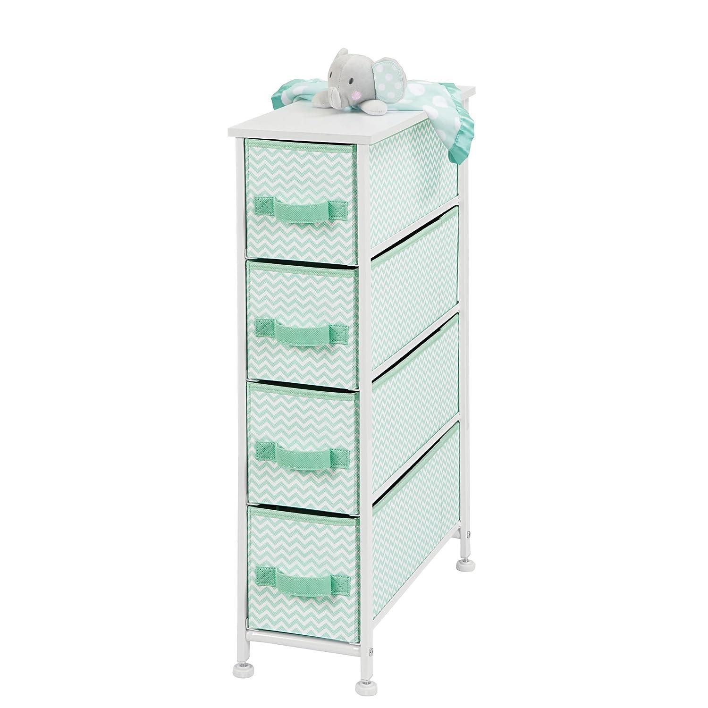 mDesign Cassettiera in tessuto – Comò con 4 cassetti – Pratico organizer con cassetti ideale per camera da letto e bagno – verde menta/bianco MetroDecor