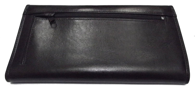 porte chéquier compagnon de voyage porte feuille 4 volets cuir de vachette noir