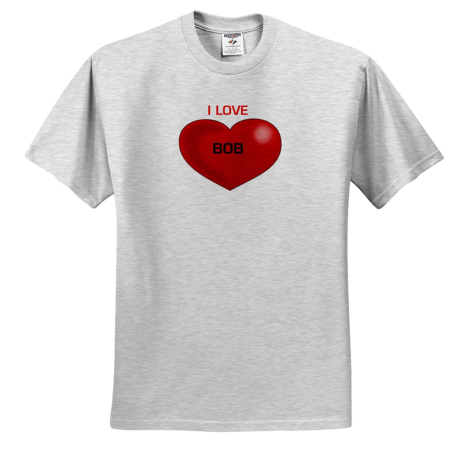 T-Shirts Love Hearts with Names 3dRose Lens Art by Florene Image of I Love Bob On Red Heart