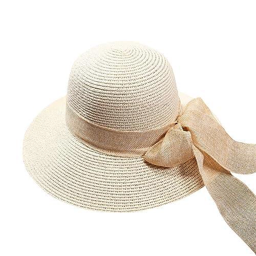 iShine gorras Mujer Viajar Respirable Ancha Sombrero de Sol con Lazo Sombrero de Paja para Sol Prote...