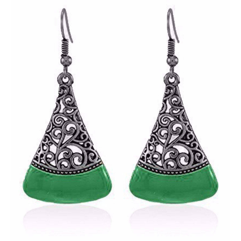 Efulgenz Indian Vintage Retro Ethnic Dangle Gypsy Oxidized Gold Tone Boho Hoop Earrings for Girls and Women Love Gift