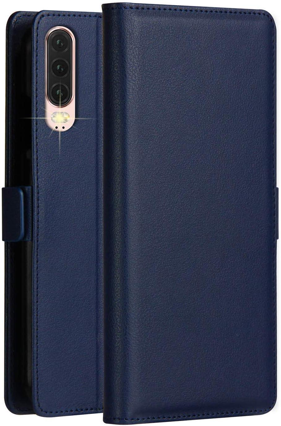 KumWum Huawei P30 Funda Cuero Billetera Piel Flip Soporte Plegable y 3 Tarjetas Ranuras Estuche de Cierre Magnético Completa Protectora Case para Huaweip30 (Azul): Amazon.es: Electrónica
