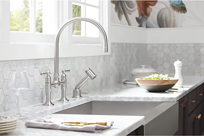 Kohler K 7344 4 Bs Hirise Stainless Independent Sidespray With Valve Brushed Stainless Touch On Kitchen Sink Faucets Amazon Com