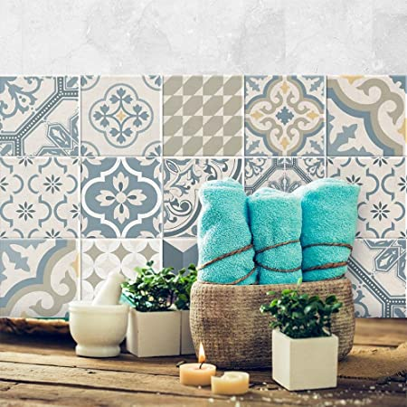 Adhesivo para Azulejos 20x20 cm PS00078 Stickers Azulejos Adhesivo Decorativo para Azulejos para ba/ño y Cocina 24 Piezas Ventotene Collage de Azulejos