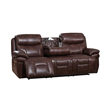 Amazon.com: Coja by Sofa4life Sentinel Leather Sofa, Brown ...