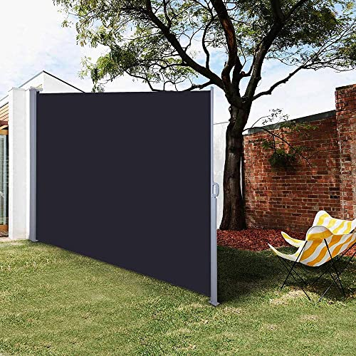 Chi Mercantile Retractable 9.8 Feet Wide Privacy Divider Side Awning Partition Black Indoor Outdoor Auto Roll Back Function Water-Resistant 5.9 Ft. Height