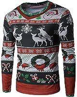 Bliefescher Herren Langarmshirt Weihnachtspullover Rentier Langarm T-Shirt