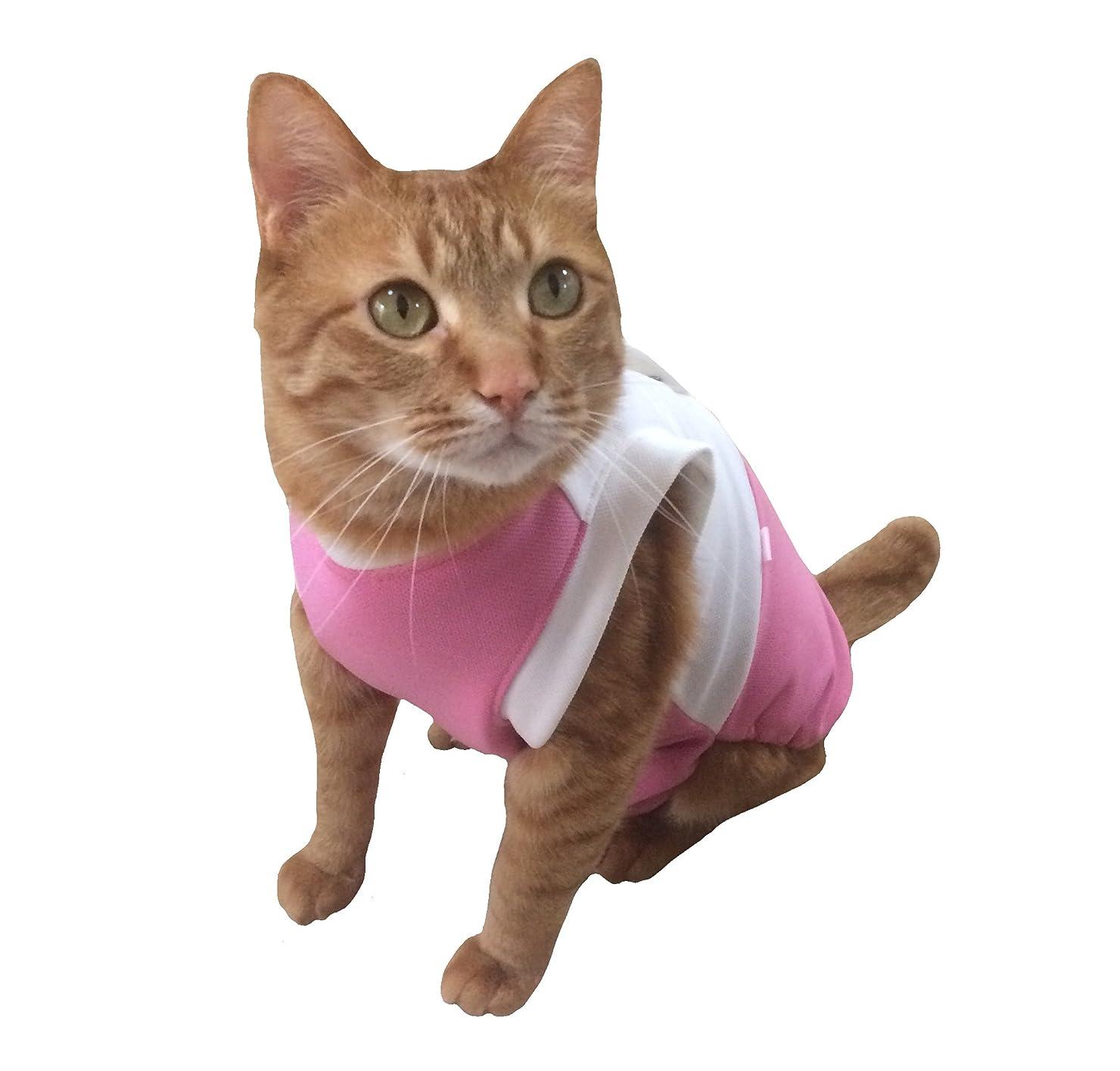 野菜民間人アコー猫 術後服 術後ウェア 猫用術後服 ヘルスケア 猫の術後服 ペット服 避妊 腹部保護 傷口の保護 皮膚保護 M-ピンク